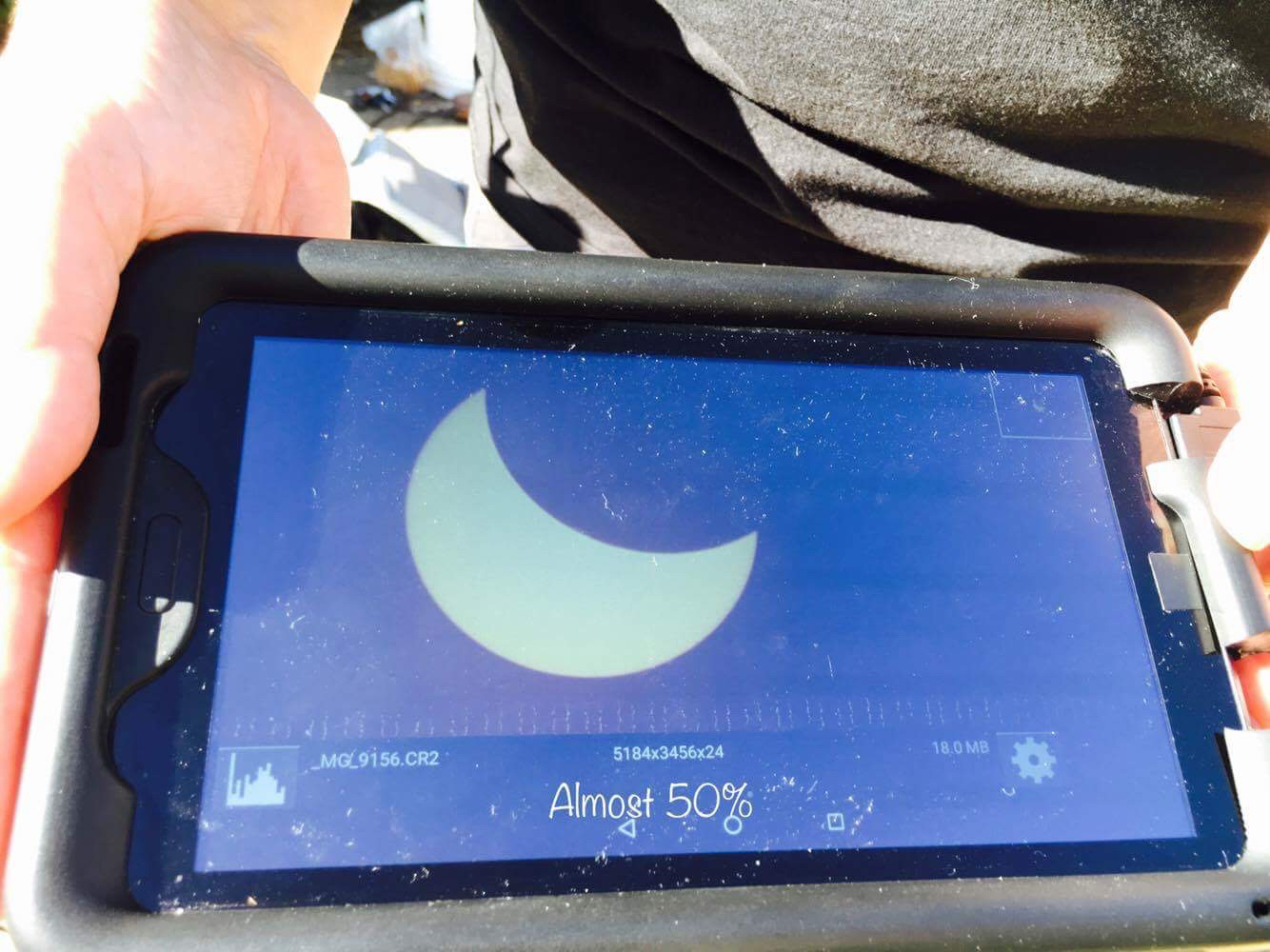 Tablet view of the Corona on the camera at ~50%