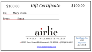 Gift certificate image and link to online merchandise